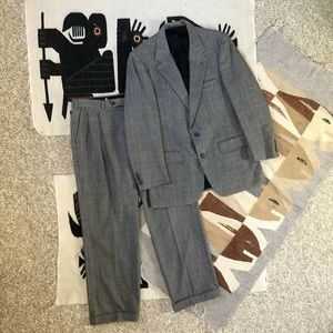 Burberrys 80s glen plaid houndstooth wool suit XL